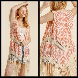 Coral Ikat Print Crochet Duster W/Tassels & Fringe